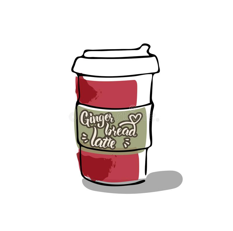 Hand writing `Gingerbread latte` royalty free illustration