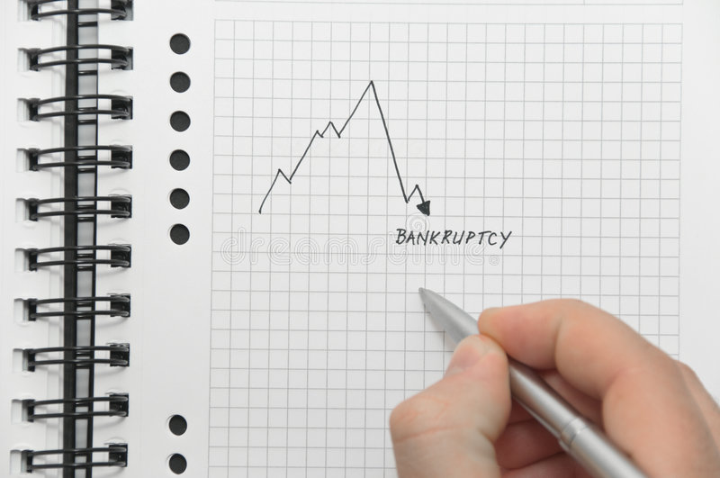 Download Hand Writing Graph Pointing To Bankruptcy Stock Image - Image: 8598163