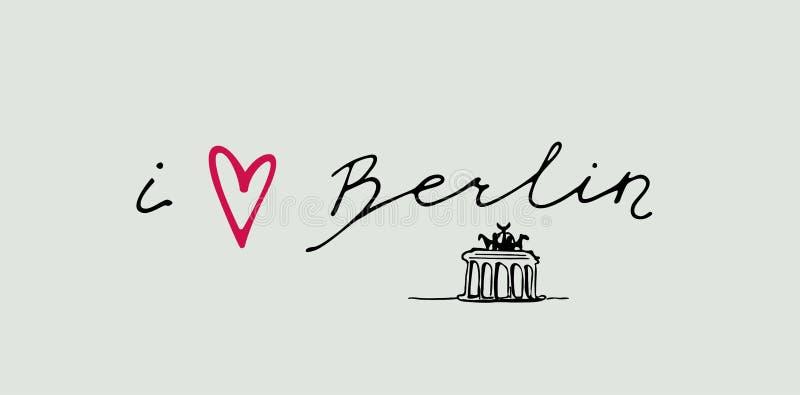 Hand writing `i Berlin` vector illustration