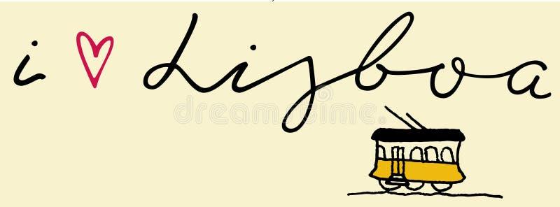Hand writing `i Lisboa` royalty free illustration