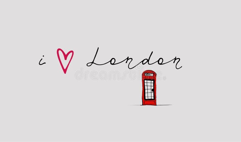 Hand writing `i London` vector illustration