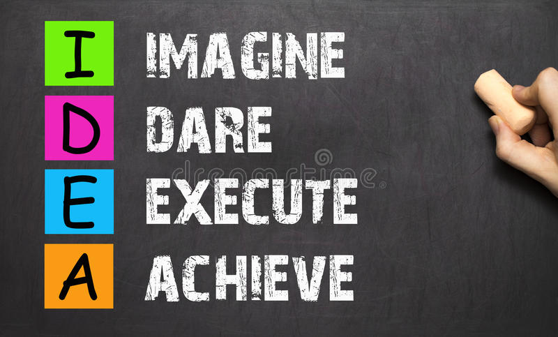 Hand writing IDEA - Imagine Dare Execute Achieve with white chalk. On blackboard royalty free stock image