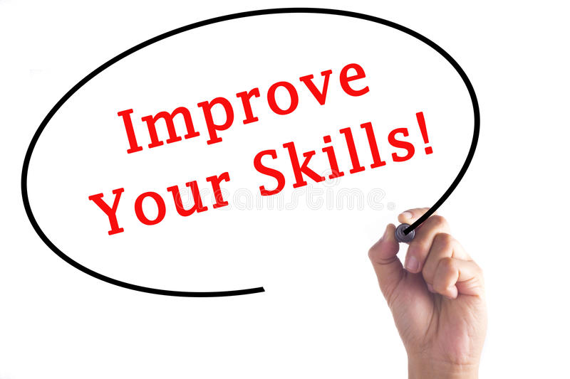 Hand writing Improve Your Skills on transparent board royalty free stock photos
