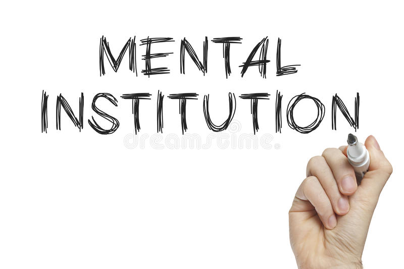 Hand writing mental institution royalty free stock photos