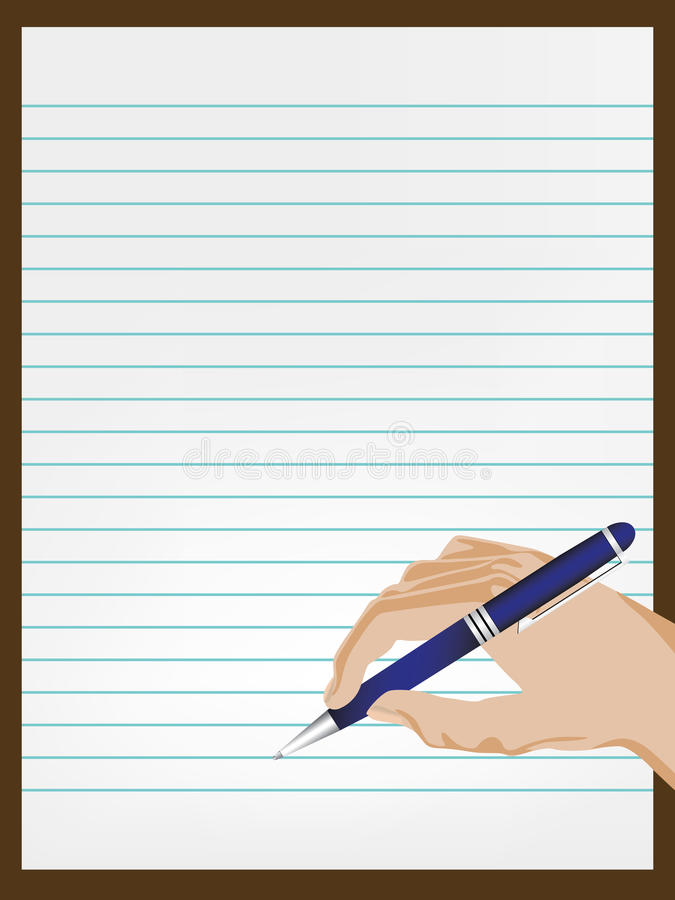 Hand writing on paper royalty free illustration