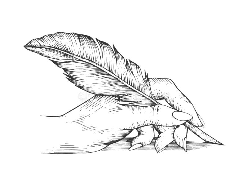 Hand with pen feather engraving vector stock illustration