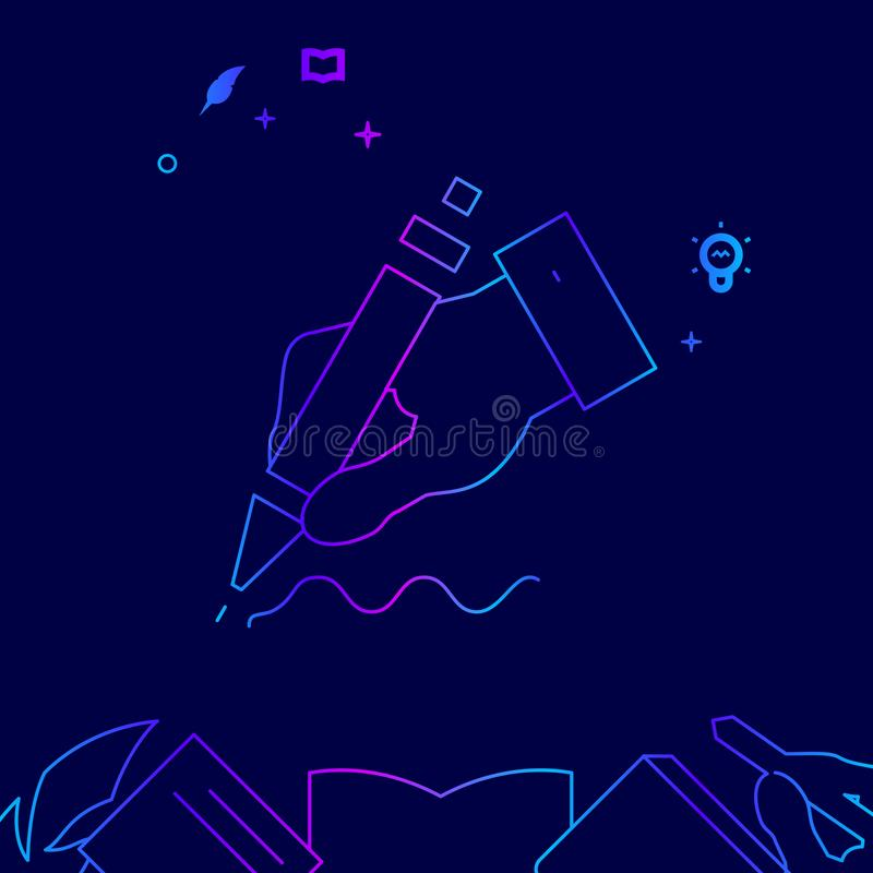 Hand Writing with Pen Vector Line Icon, Illustration on a Dark Blue Background. Related Bottom Border vector illustration