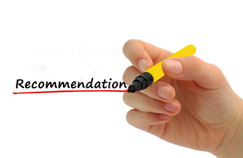 Hand writing Recommendation with red marker royalty free stock photos