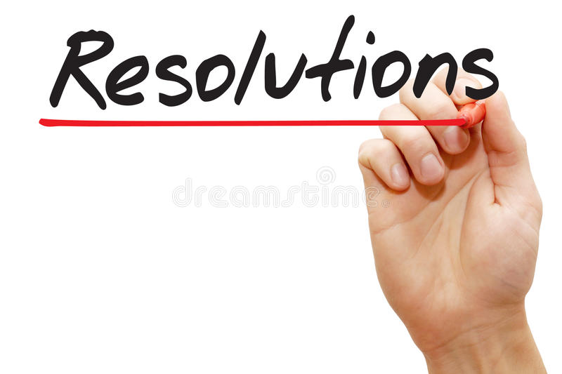 Hand writing Resolutions, business concept royalty free stock photography