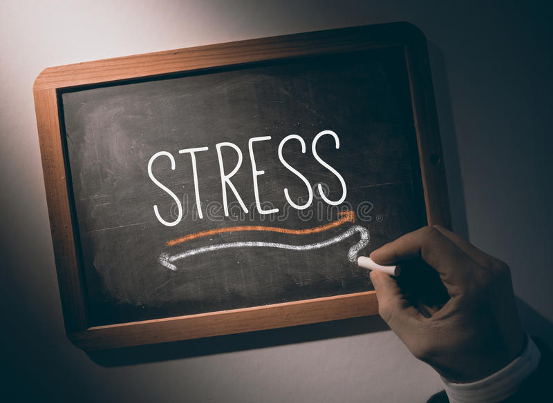 Hand writing Stress on chalkboard. Hand writing the word stress on black chalkboard stock images