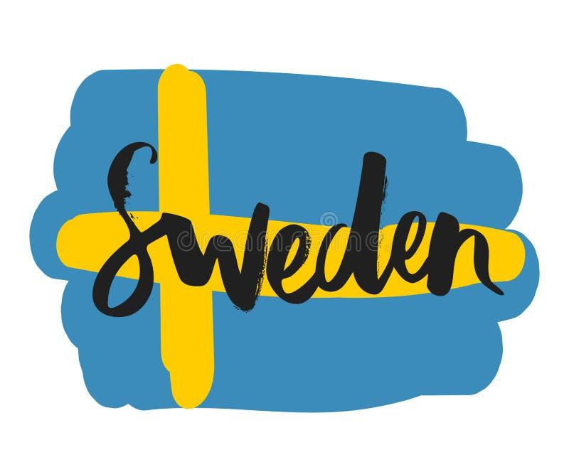 Hand writing `Sweden` stock illustration