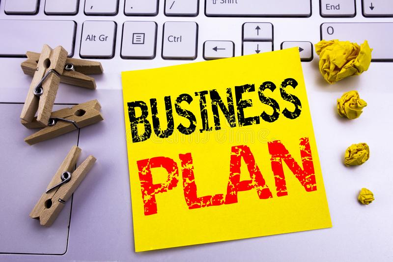 Hand writing text caption inspiration showing Business Plan Planning. Business concept for Preparation Project Strategy written on. Sticky paper on the white royalty free stock photos
