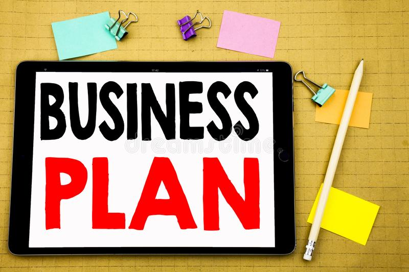 Hand writing text caption inspiration showing Business Plan Planning. Business concept for Preparation Project Strategy Written on. Tablet, wooden background stock photos