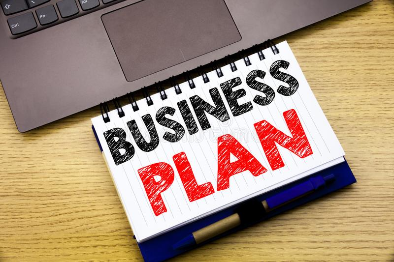 Hand writing text caption inspiration showing Business Plan Planning. Business concept for Preparation Project Strategy written on. Notebook book on wooden stock image