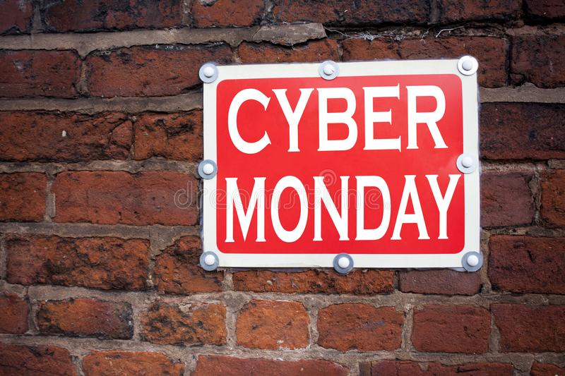 Hand writing text caption inspiration showing Cyber Monday concept meaning Retail Shop Discount written on old announcement road s. Ign with background and space royalty free stock photo