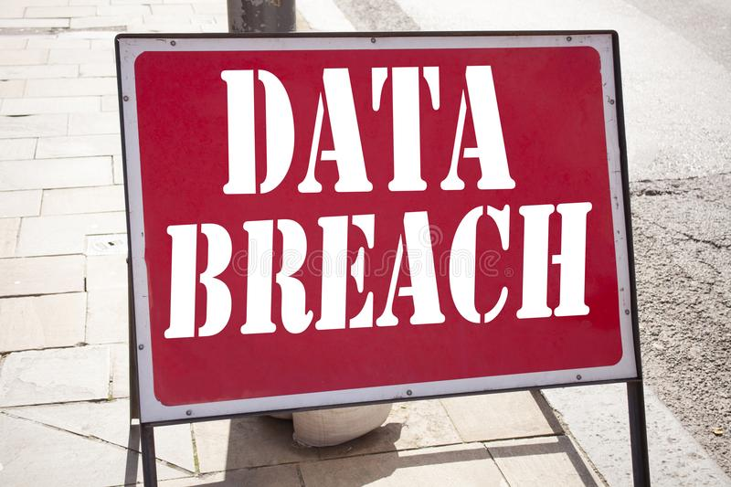 Hand writing text caption inspiration showing Data Breach concept meaning Tech Internet Network Breaking into Database written on. Old announcement road sign royalty free stock photography