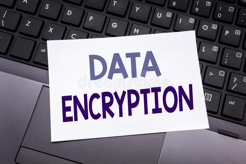 Hand writing text caption inspiration showing Data Encryption. Business concept for Information Security written on sticky note pa. Per on black keyboard stock photos