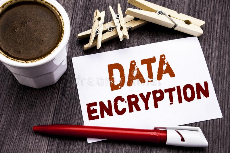 Hand writing text caption inspiration showing Data Encryption. Business concept for Information Security written on sticky note pa. Per on wooden wood background stock photography