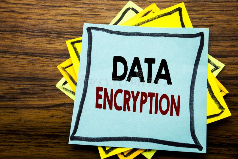 Hand writing text caption inspiration showing Data Encryption. Business concept for Information Security written on sticky note pa. Per on wooden wood background royalty free stock photography
