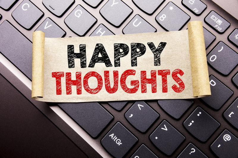 Hand writing text caption inspiration showing Happy Thoughts. Business concept for Happiness Thinking Good written on sticky note stock image