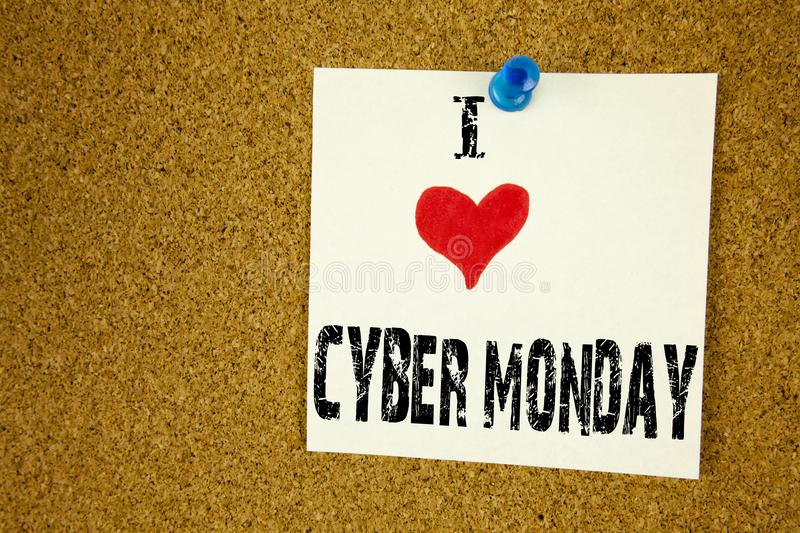 Hand writing text caption inspiration showing I Love Cyber Monday concept meaning Retail Shop Discount Loving written on sticky no. Te, reminder background with stock photo