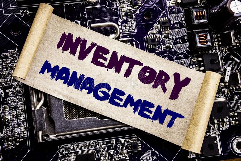 Hand writing text caption inspiration showing Inventory Management. Business concept for Stock Supply Written on sticky note, comp. Hand writing text caption stock photos