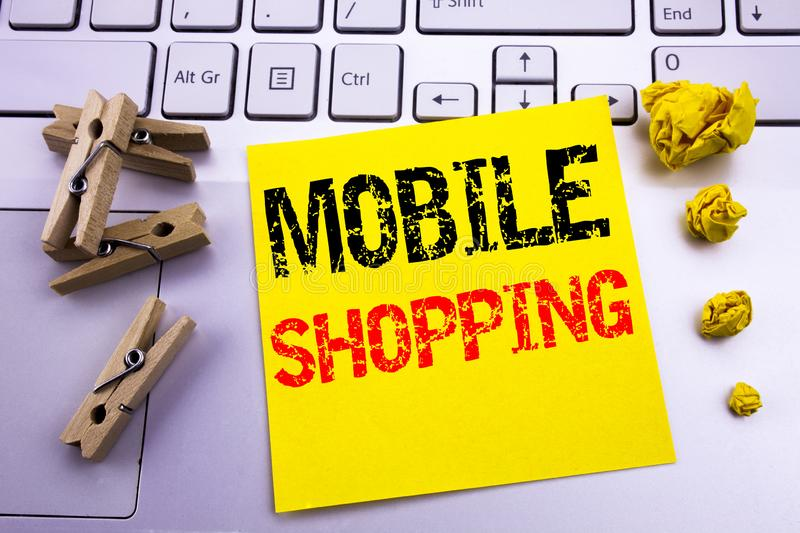 Hand writing text caption inspiration showing Mobile Shopping. Business concept for Cellphone online order written on sticky note. Hand writing text caption stock images