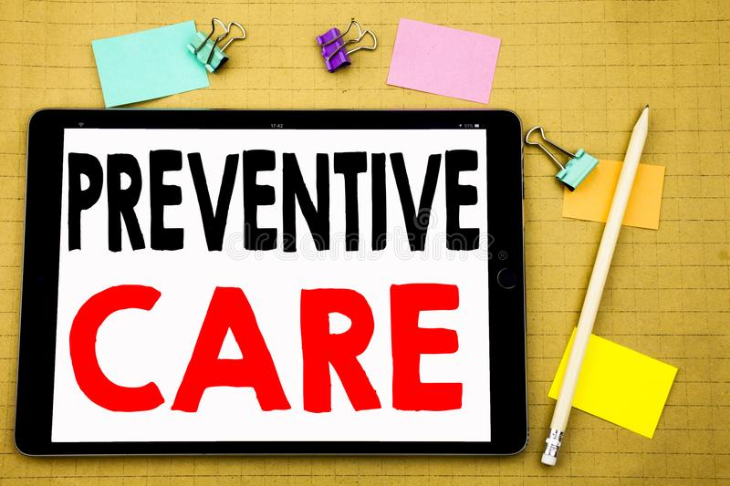 Hand writing text caption inspiration showing Preventive Care. Business concept for Health Medicine Care Written on tablet laptop,. Hand writing text caption stock images