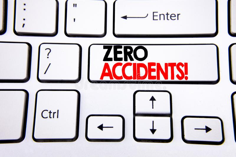 Hand writing text caption inspiration showing Zero Accidents. Business concept for Safety At Work Hazard written on white keyboard. Key with copy space. Top stock photo