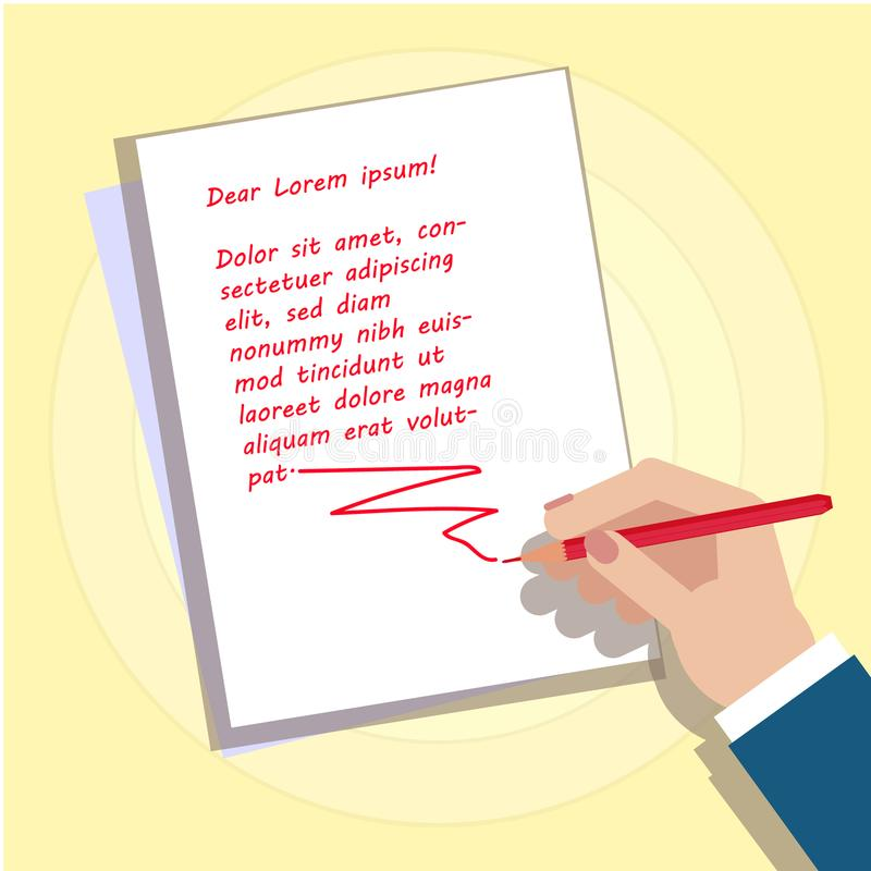 The hand is writing the text. Image of a hand with a place. For your text. Vector image for your website or design element. You can put your own text on a white stock illustration