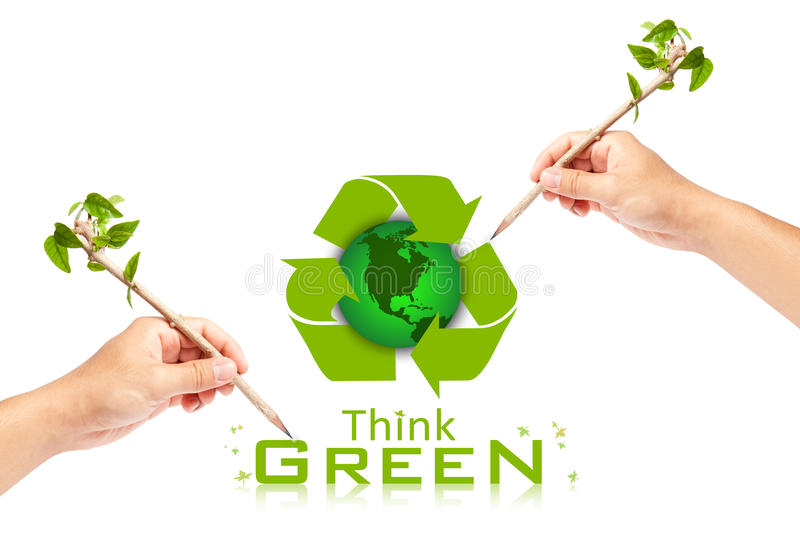 Hand Writing Think Green Ecology Concept Stock Photography