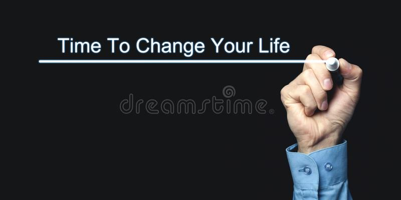 Hand writing Time To Change Your Life. Business, Motivation concept stock photography
