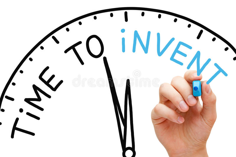 Time to Invent. Hand writing Time to Invent concept with blue marker on transparent wipe board stock photography