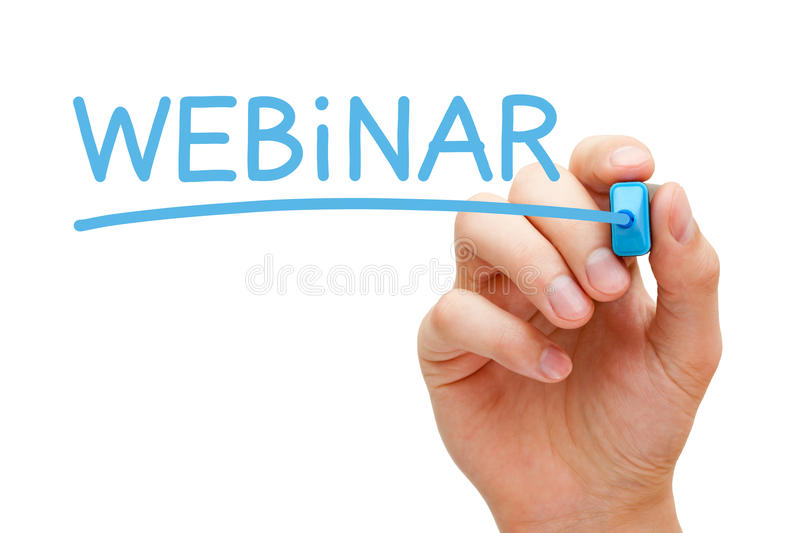 Webinar Concept. Hand writing Webinar with blue marker on transparent wipe board