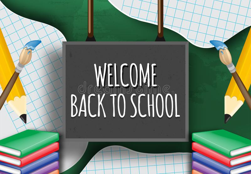 Hand writing welcome back to school on a blackboard. vector illustration