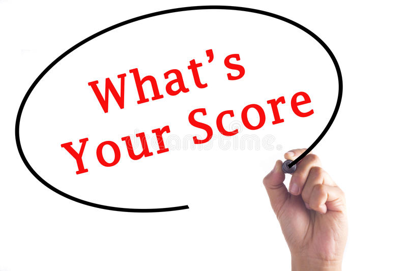 Hand writing What's Your Score on transparent board royalty free stock image