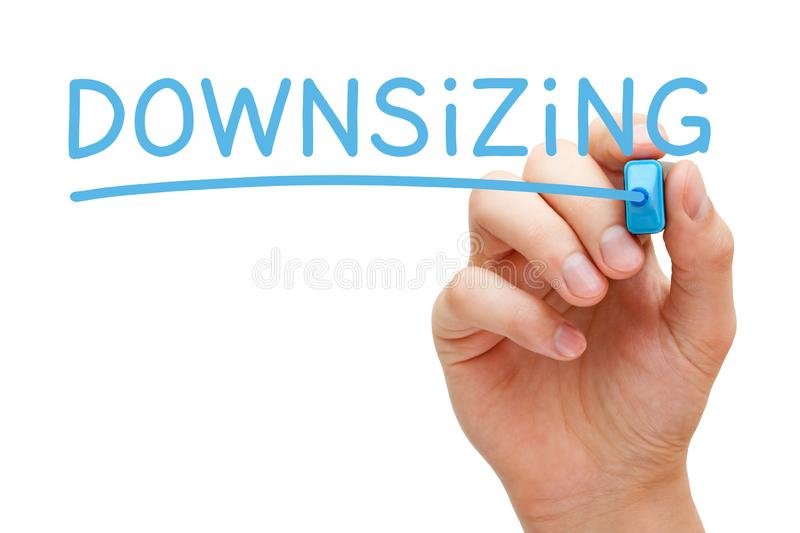 Word Downsizing Handwritten With Blue Marker stock image