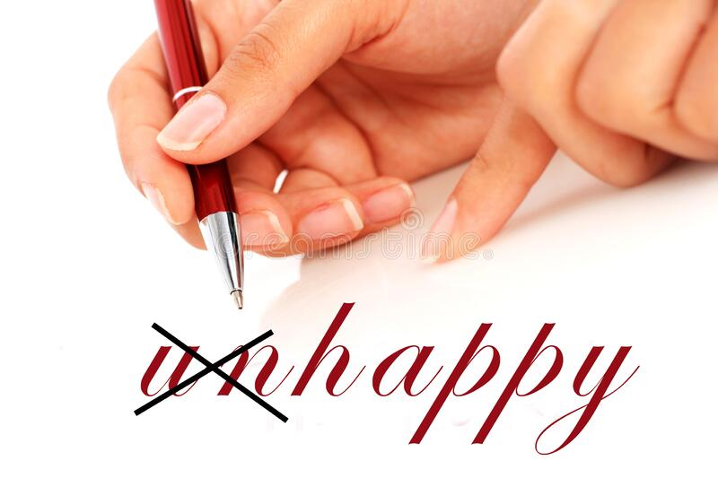 Hand is writing word happy. Hand holding red pen stock images