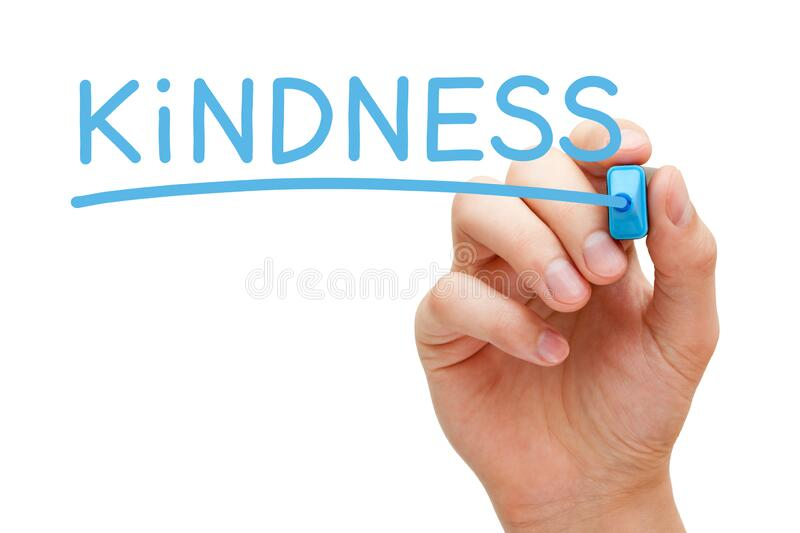 Word Kindness Handwritten With Blue Marker stock images