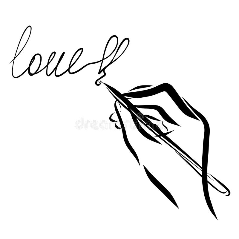 Hand writing the word LOVE, and heart.  vector illustration