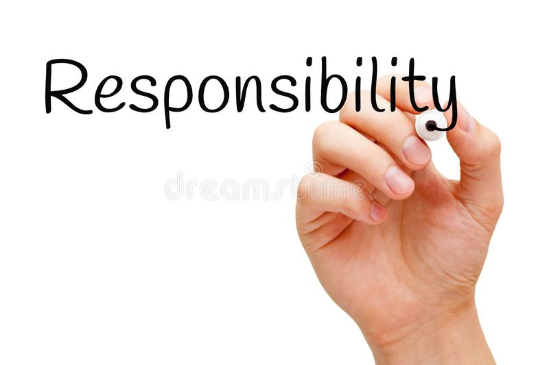 Word Responsibility Handwritten With Black Marker. Hand writing the word Responsibility with black marker on transparent wipe board isolated on white stock photos