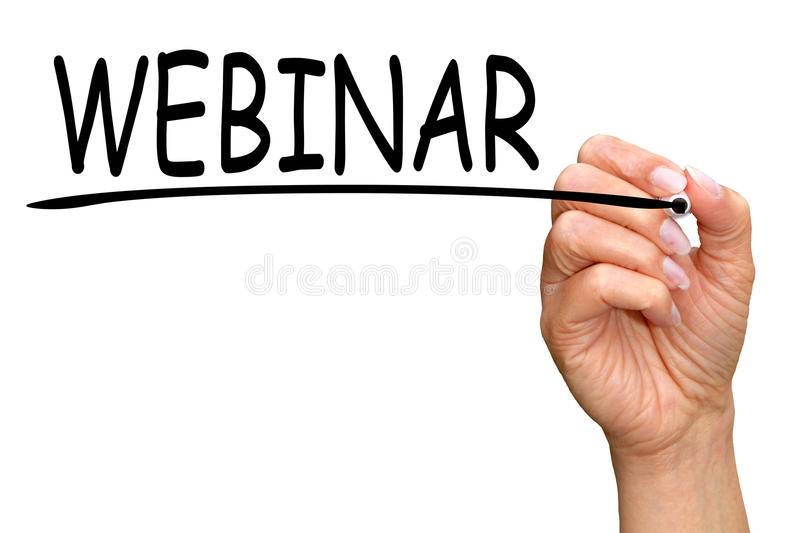 Hand writing word webinar royalty free stock images