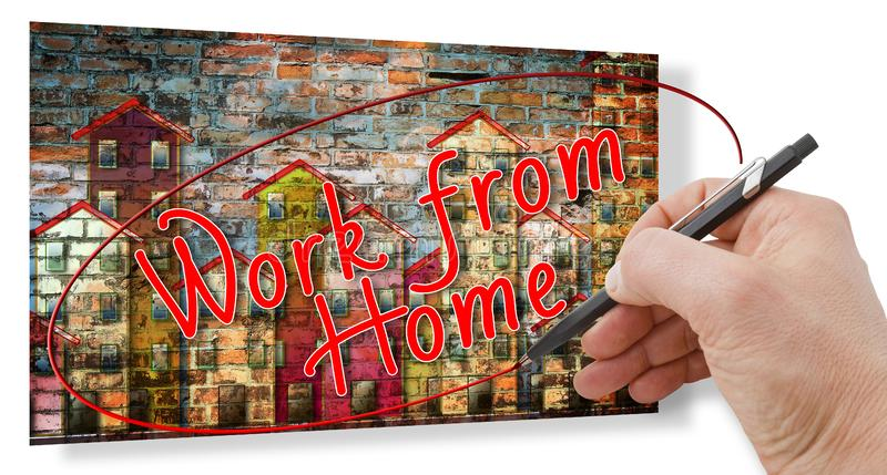 Hand writing `Work from home` - With new technology you can work at home - Concept image.  stock images