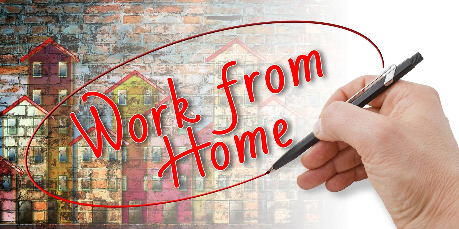 Hand writing `Work from home` stock photography