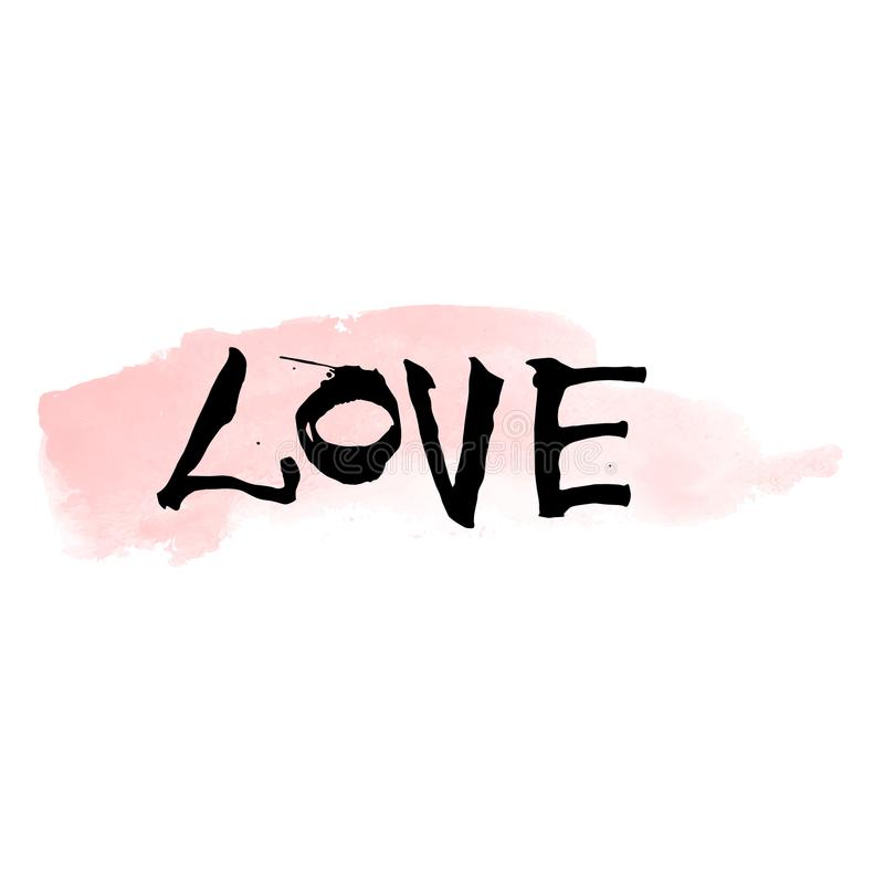 Hand written black lettering LOVE with watercolor brushstroke for valentines day design poster, greeting card, photo album, banner stock images