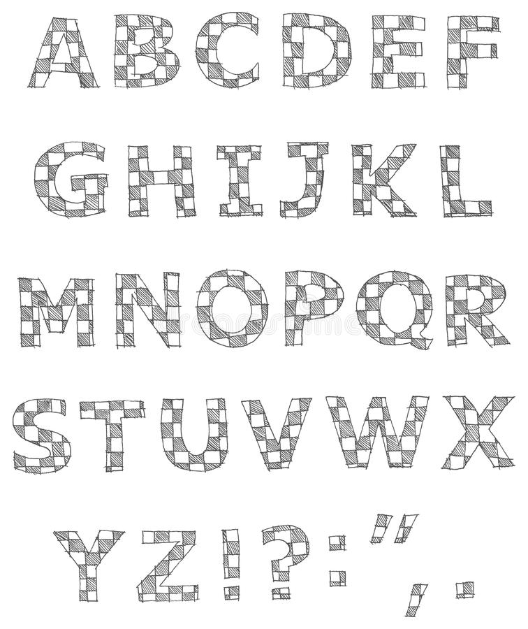 Download Hand Written Checkered Alphabet Stock Vector - Image: 21663555