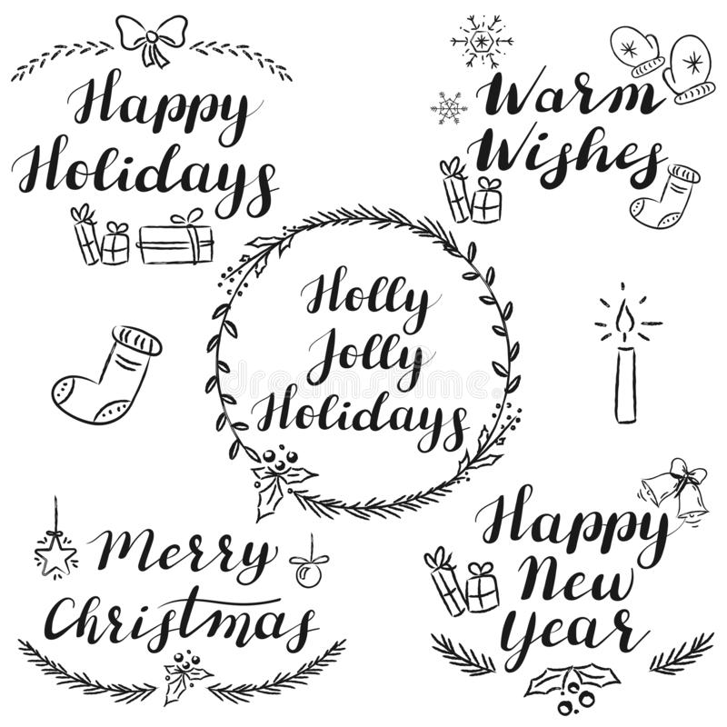 Hand written Christmas and New Year wishes vector illustration