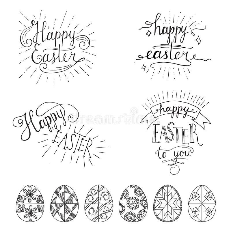 Hand written easter phrases eeting card text templates with download hand written easter phrases eeting card text templates with easter eggs isolated on white m4hsunfo
