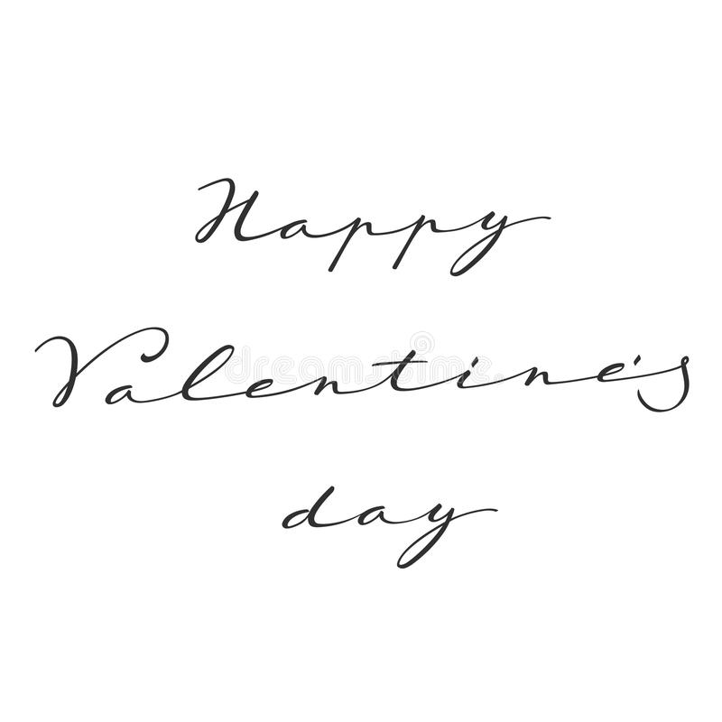 Happy valentines day Hand lettering. Hand-written greetings with Valentines day in black and white gamma stock illustration