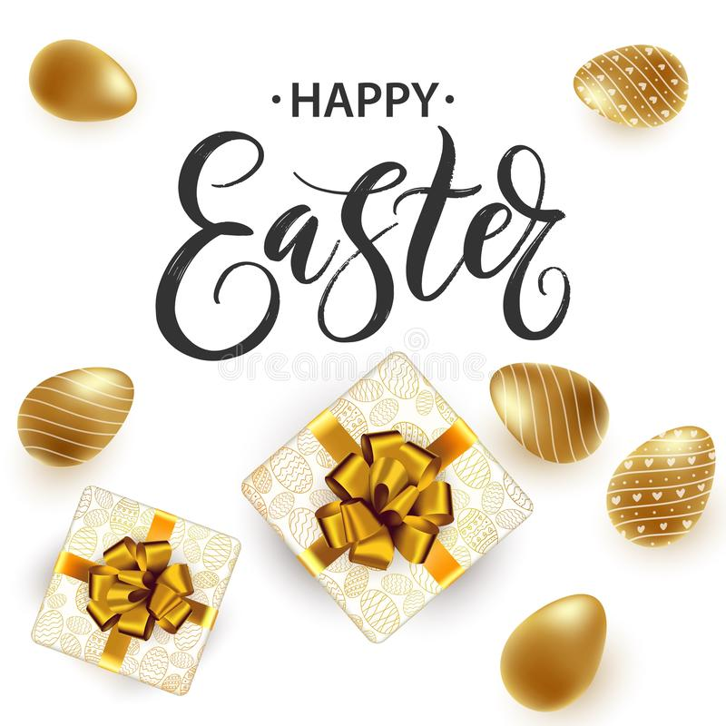 Hand written Happy Easter lettering cute poster. Vector. Hand written Happy Easter lettering cute poster. Modern bright background with golden Easter eggs and stock illustration
